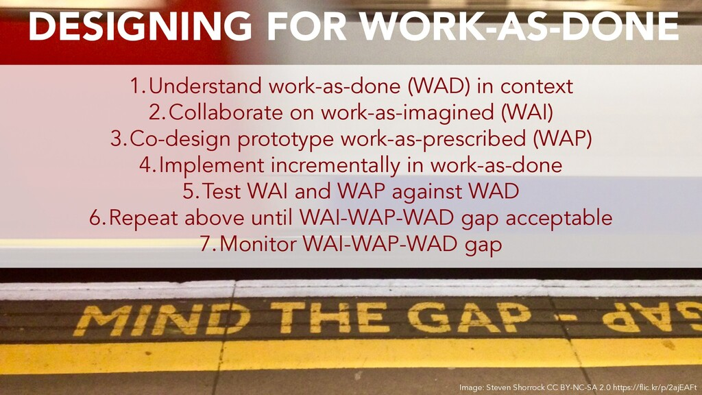 1.Understand work-as-done (WAD) in context 2.Co...
