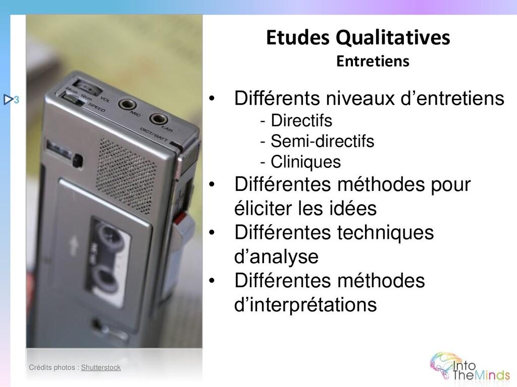 • Différents niveaux d'entretiens - Directifs -...