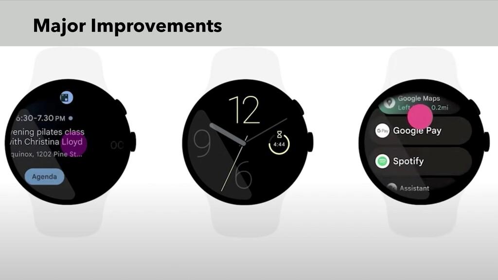 Major Improvements