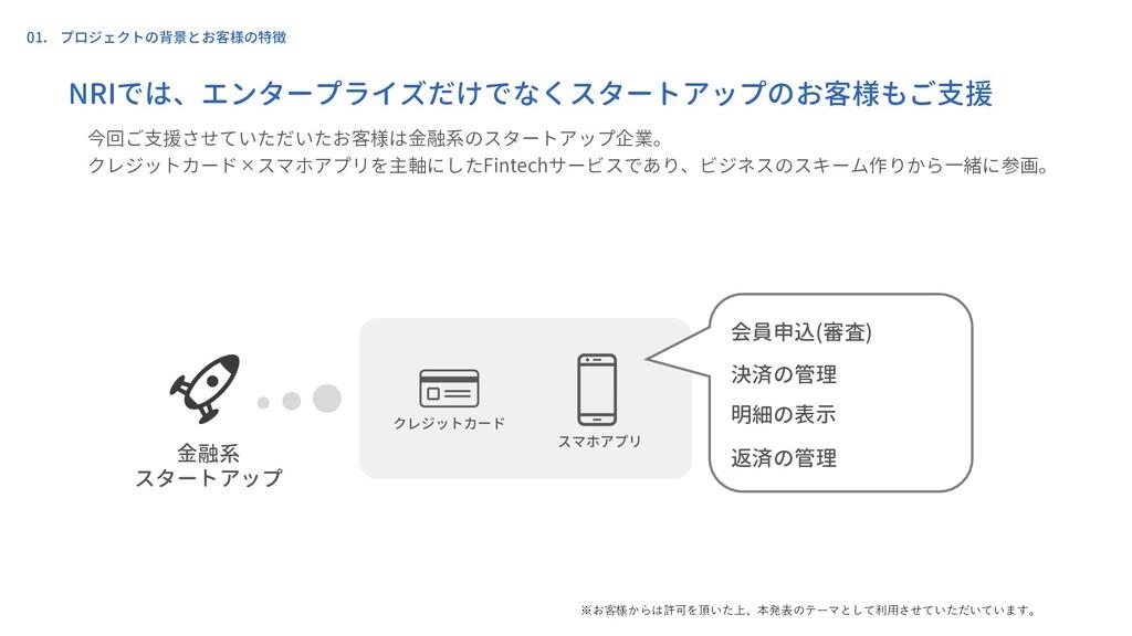 01. プロジェクトの背景とお客様の特徴 クレジットカード スマホアプリ 今回ご支援させていた...
