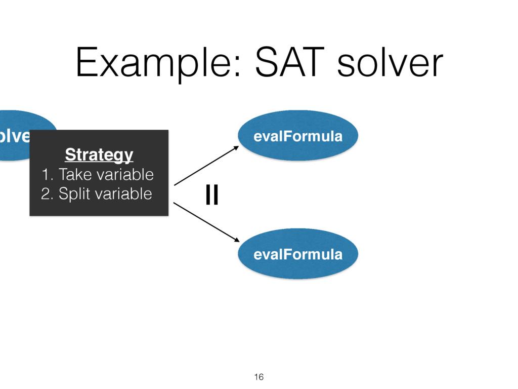 Example: SAT solver olve Strategy 1. Take varia...