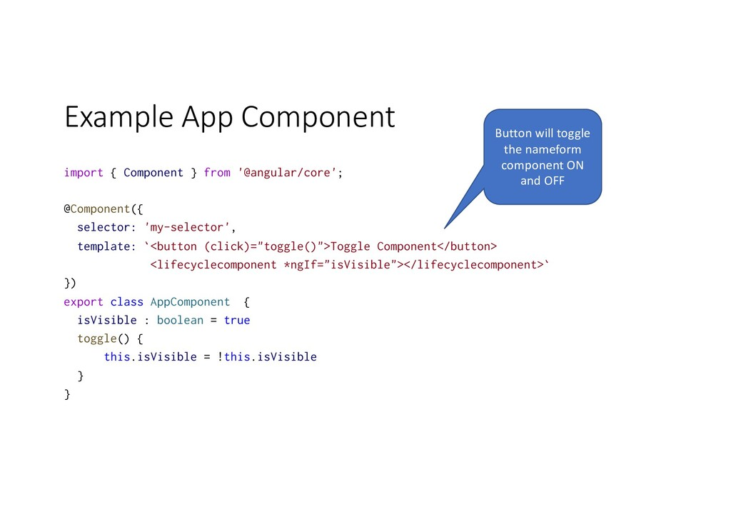 Example App Component import { Component } from...