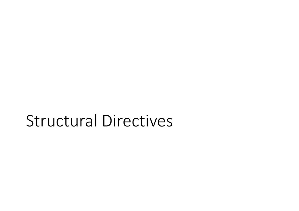 Structural Directives