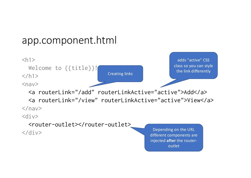 app.component.html <h1> Welcome to {{title}}! <...
