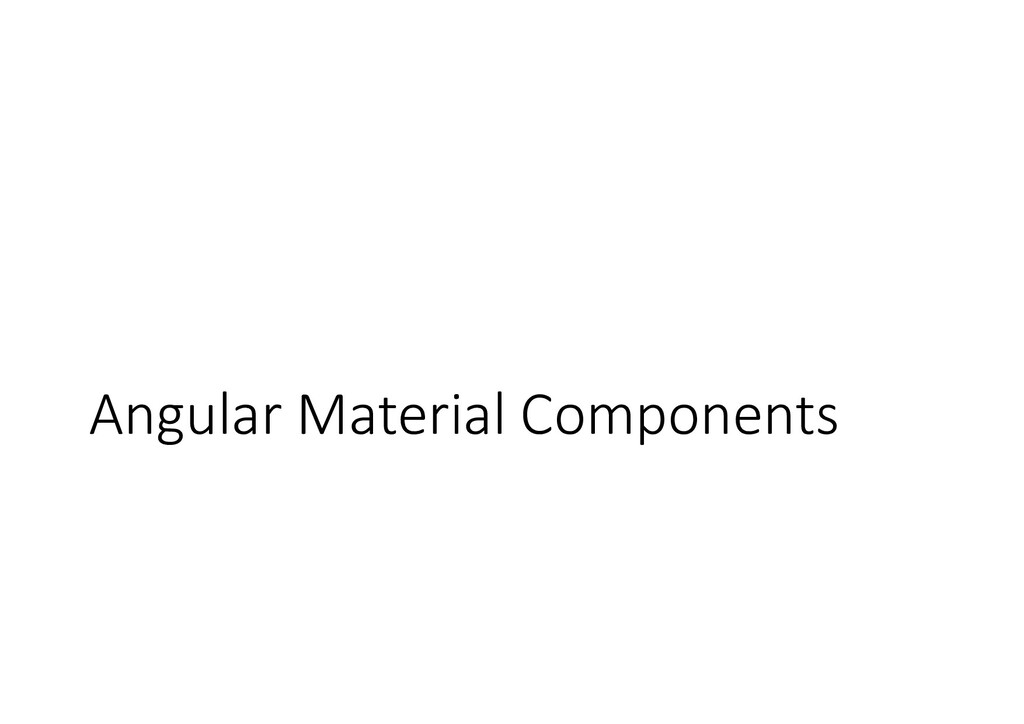 Angular Material Components