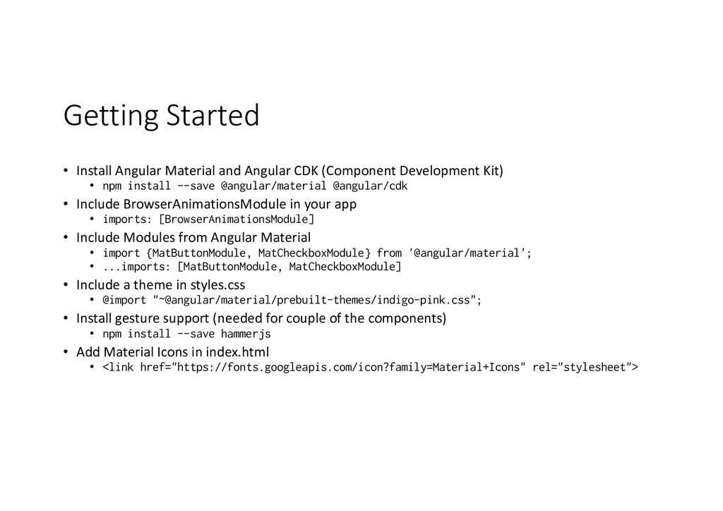 Getting Started • Install Angular Material and ...