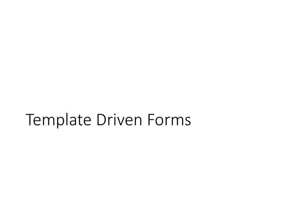 Template Driven Forms