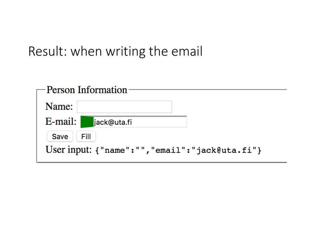 Result: when writing the email
