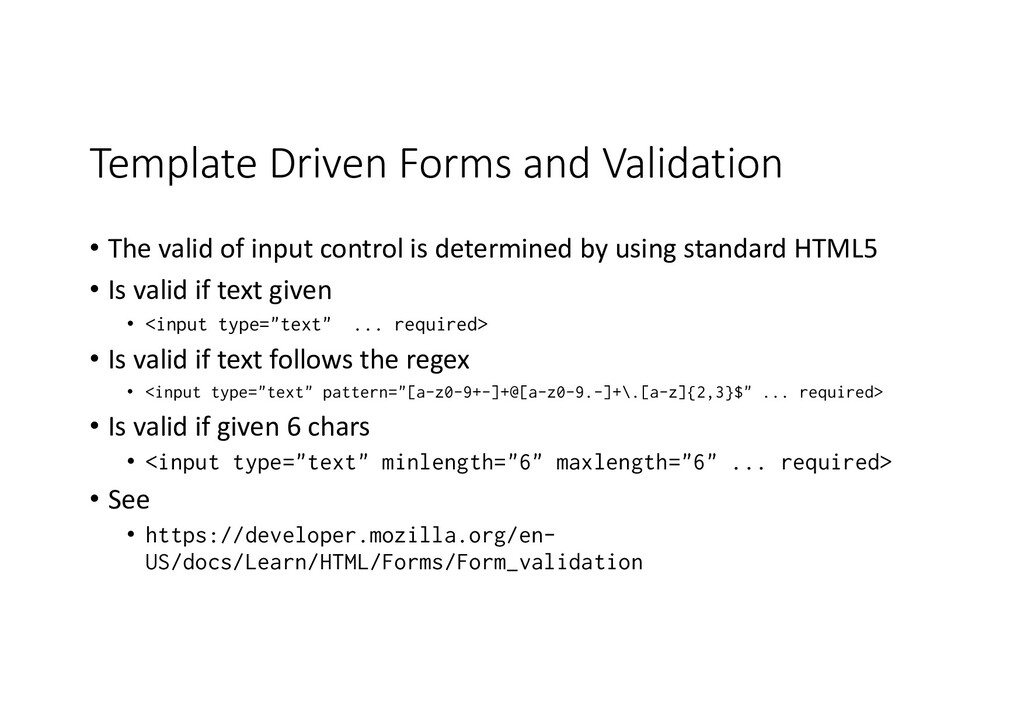 Template Driven Forms and Validation • The vali...