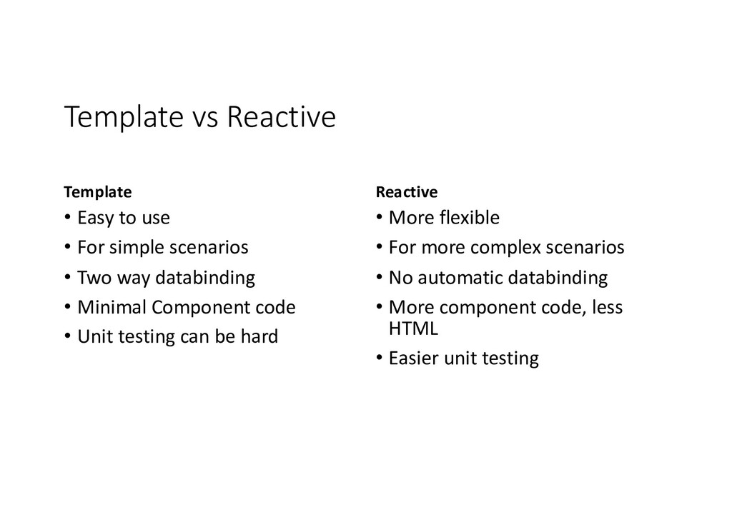 Template vs Reactive Template • Easy to use • F...
