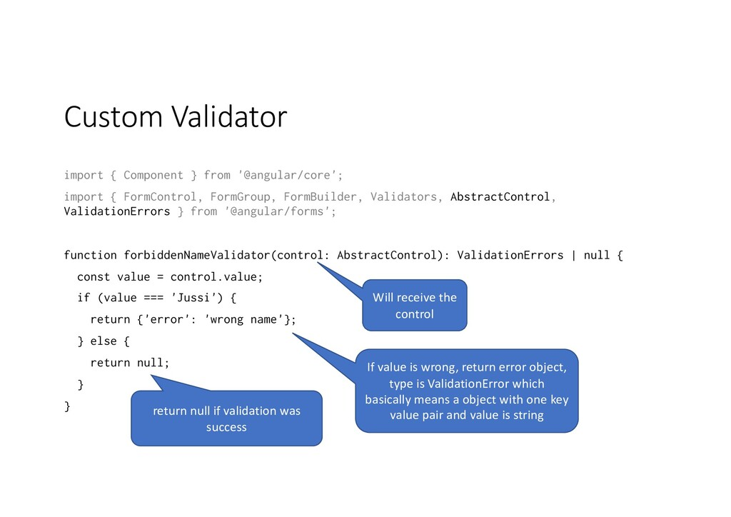 Custom Validator import { Component } from '@an...