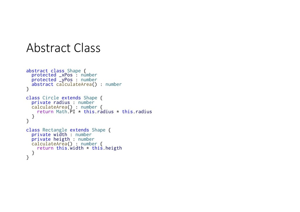 Abstract Class abstract class Shape { protected...