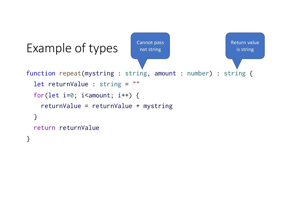 Example of types function repeat(mystring : str...