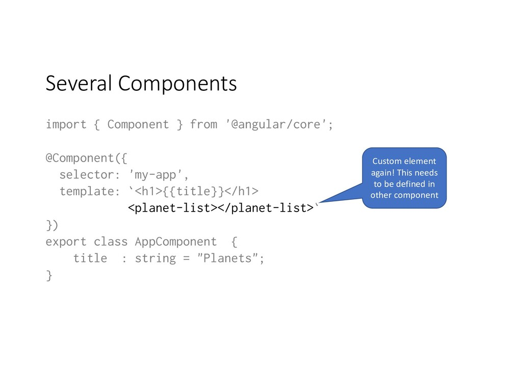 Several Components import { Component } from '@...