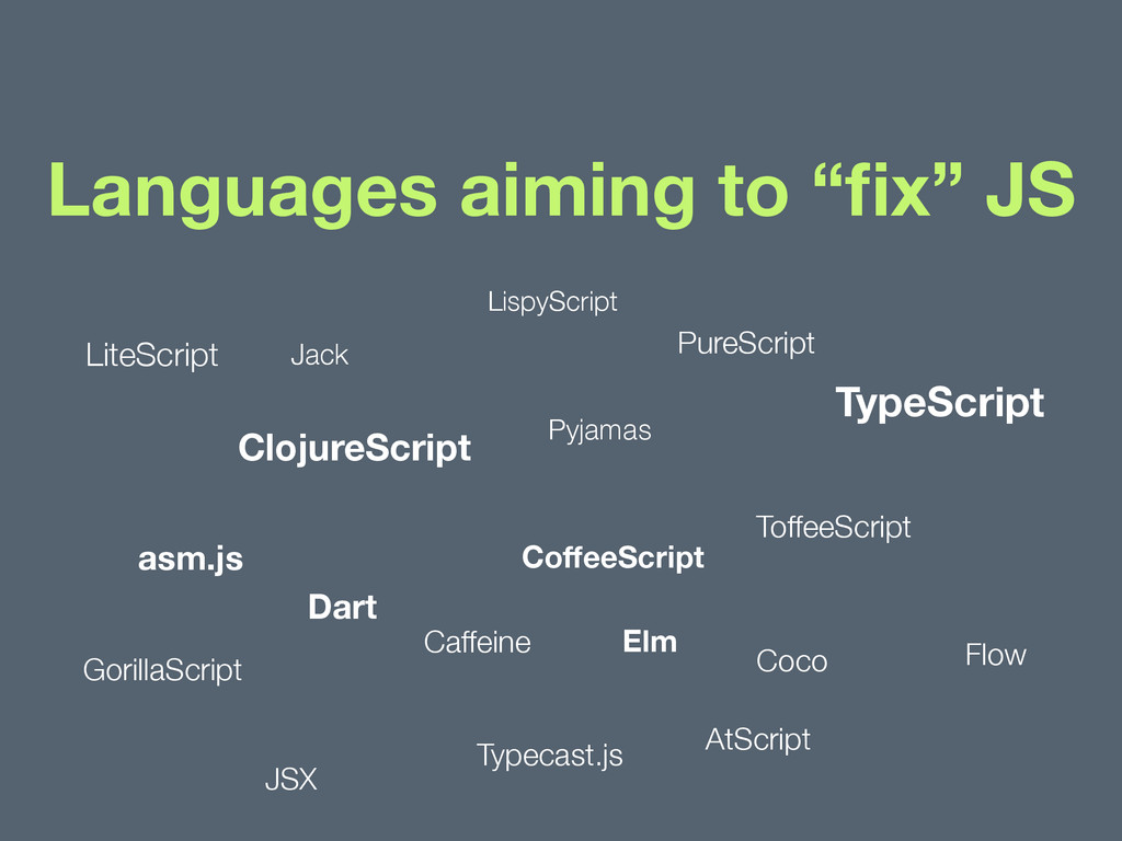 """Languages aiming to """"fix"""" JS TypeScript CoffeeScr..."""