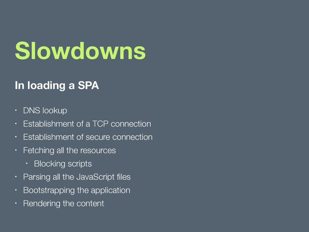 In loading a SPA • DNS lookup • Establishment o...