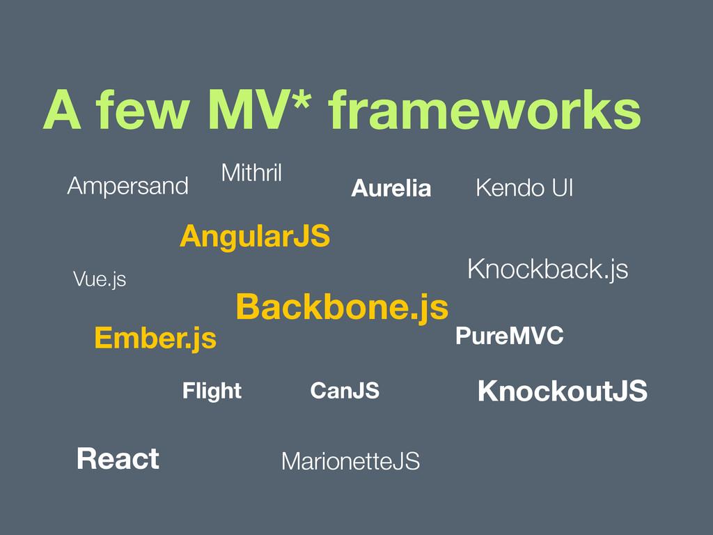 A few MV* frameworks Backbone.js Flight Knockou...