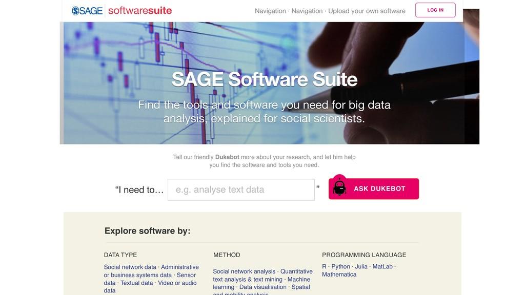 SAGE Software Suite Social network data · Admin...