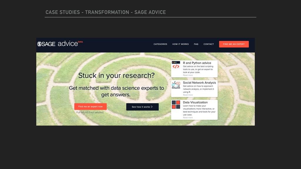 CASE STUDIES - TRANSFORMATION - SAGE ADVICE