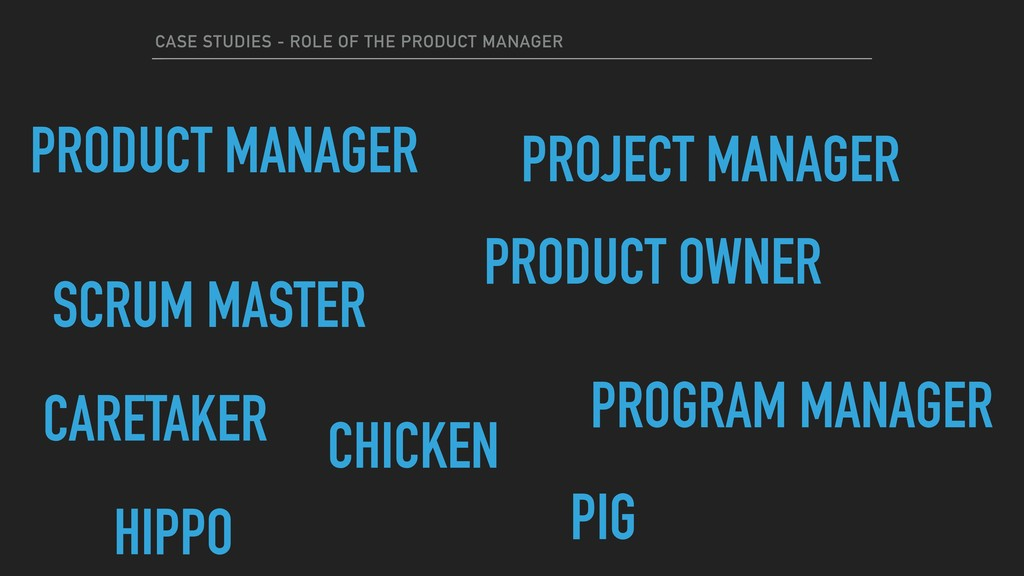 CASE STUDIES - ROLE OF THE PRODUCT MANAGER PROD...