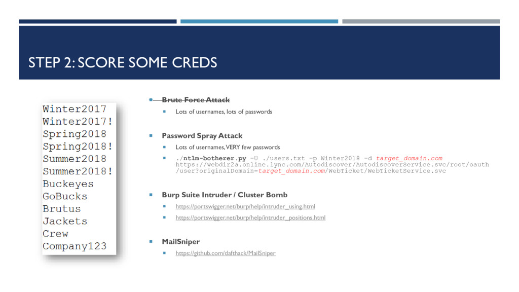 STEP 2: SCORE SOME CREDS  Brute Force Attack ...
