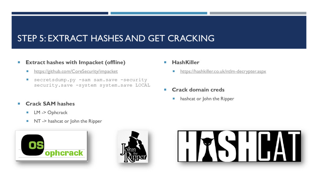 STEP 5: EXTRACT HASHES AND GET CRACKING  Extra...