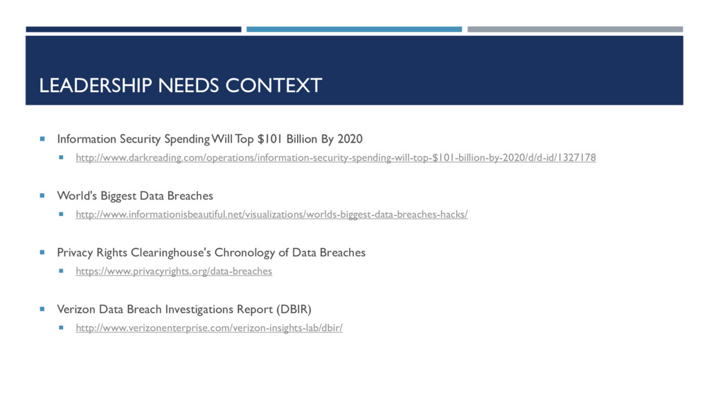LEADERSHIP NEEDS CONTEXT  Information Security...