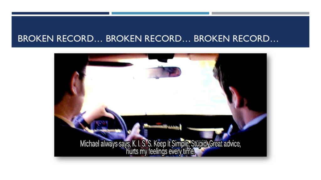 BROKEN RECORD… BROKEN RECORD… BROKEN RECORD…