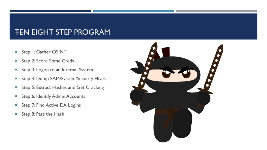 TEN EIGHT STEP PROGRAM  Step 1: Gather OSINT ...