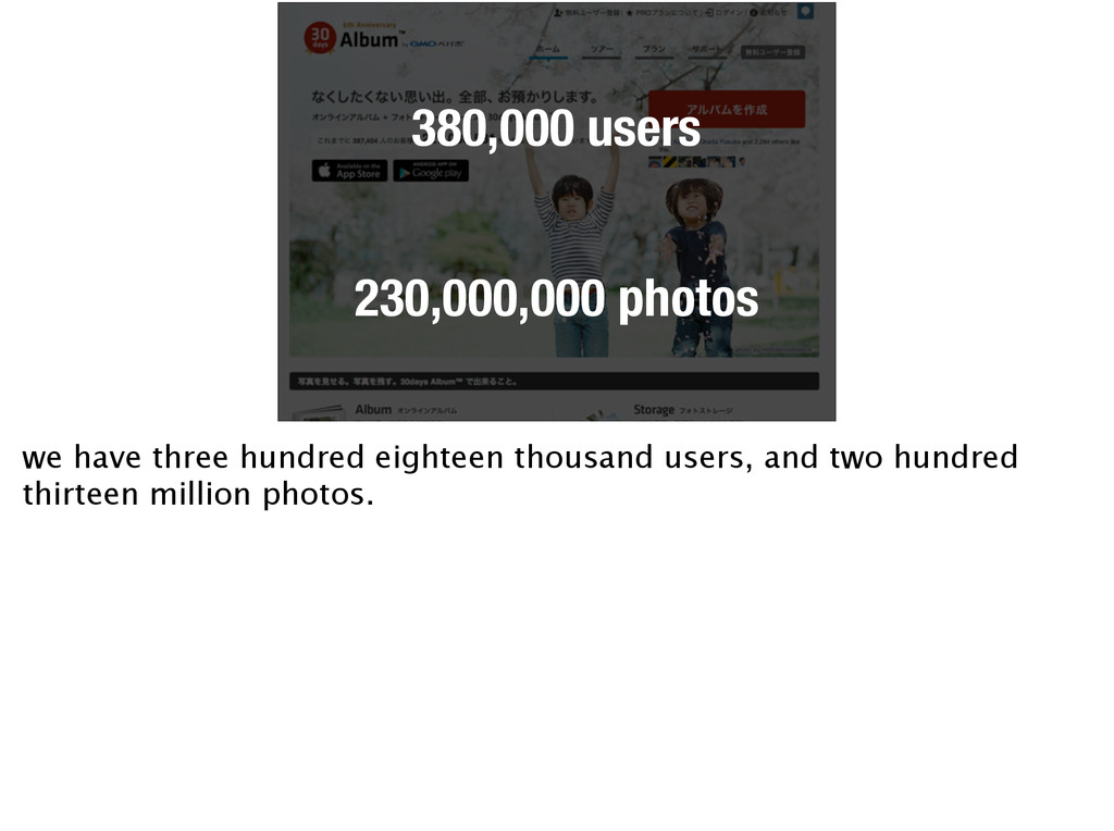 380,000 users 230,000,000 photos we have three ...