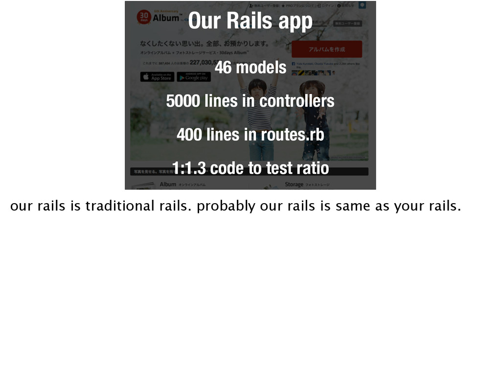 Our Rails app 46 models 5000 lines in controlle...