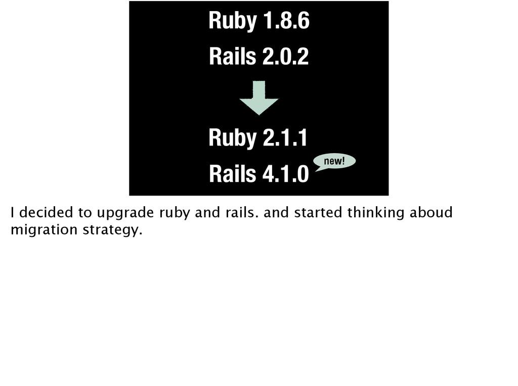 Ruby 1.8.6 Rails 2.0.2 Ruby 2.1.1 Rails 4.1.0 n...