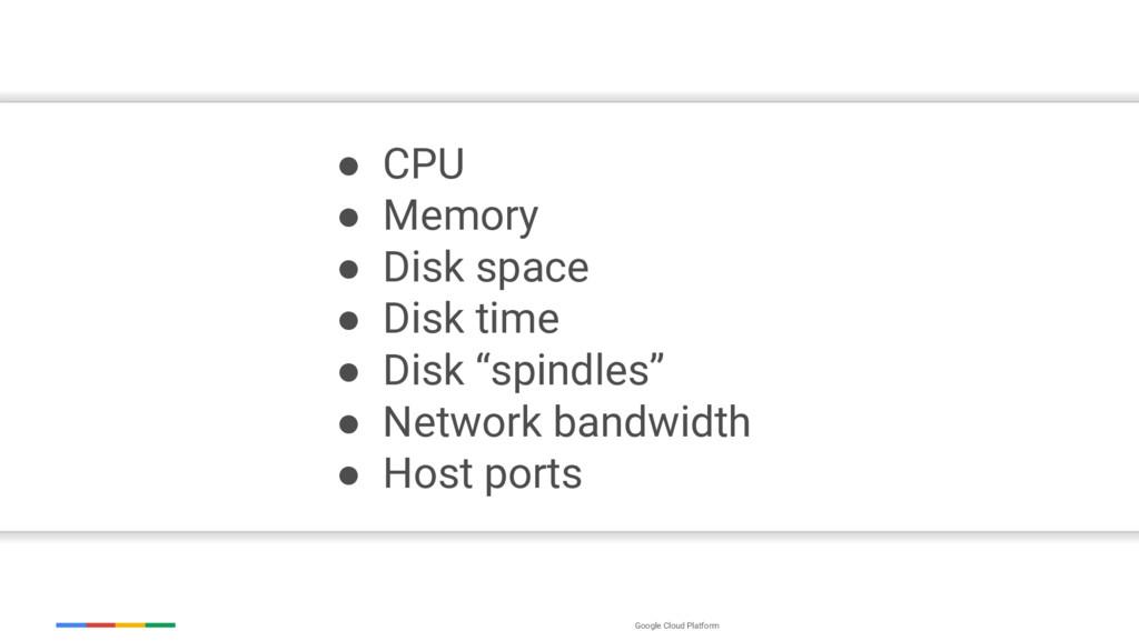 Google Cloud Platform ● CPU ● Memory ● Disk spa...