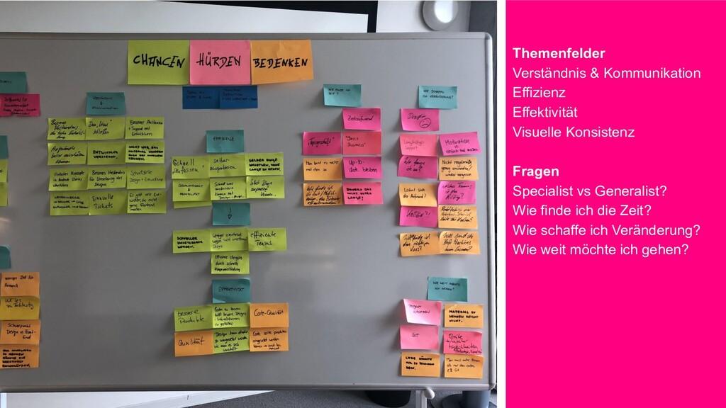 Themenfelder Verständnis & Kommunikation Effizi...