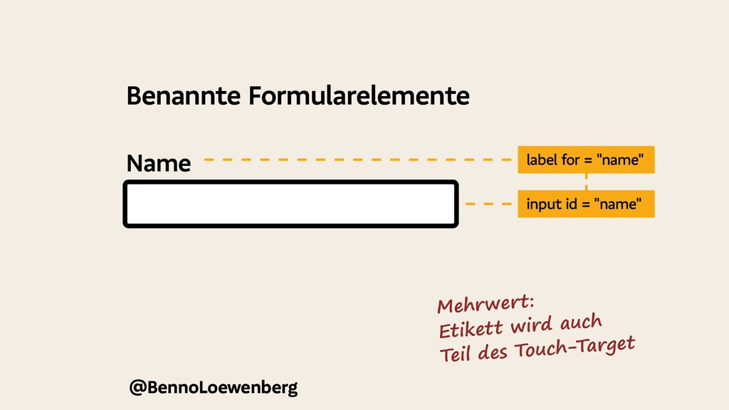 """Name @BennoLoewenberg label for = """"name"""" input ..."""