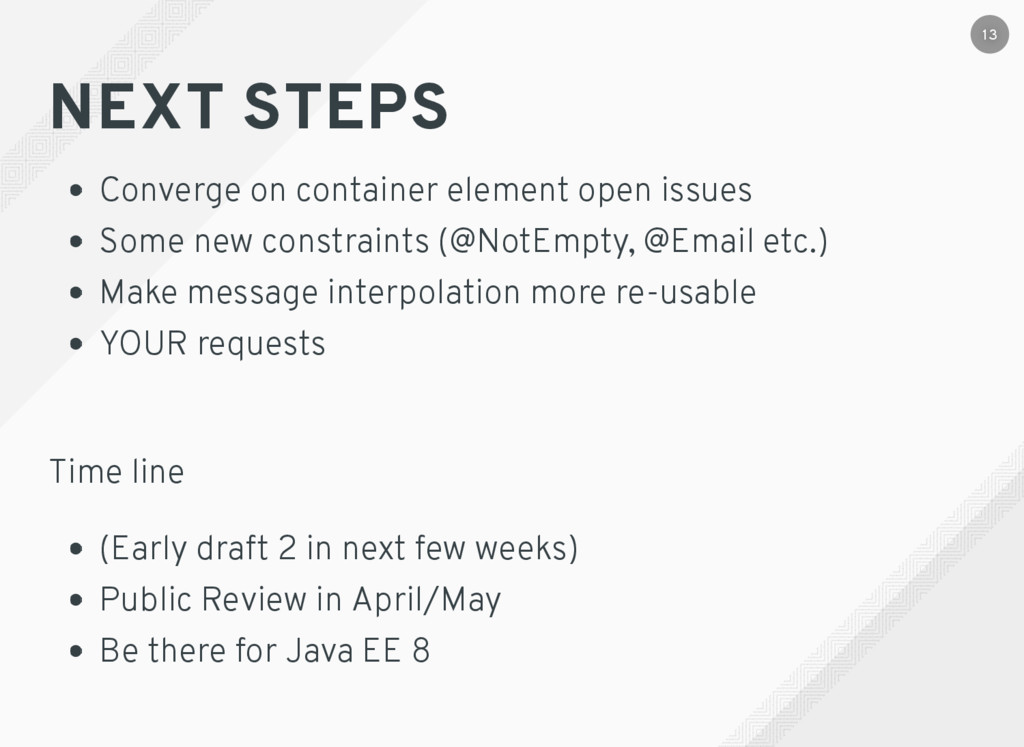 NEXT STEPS Converge on container element open i...