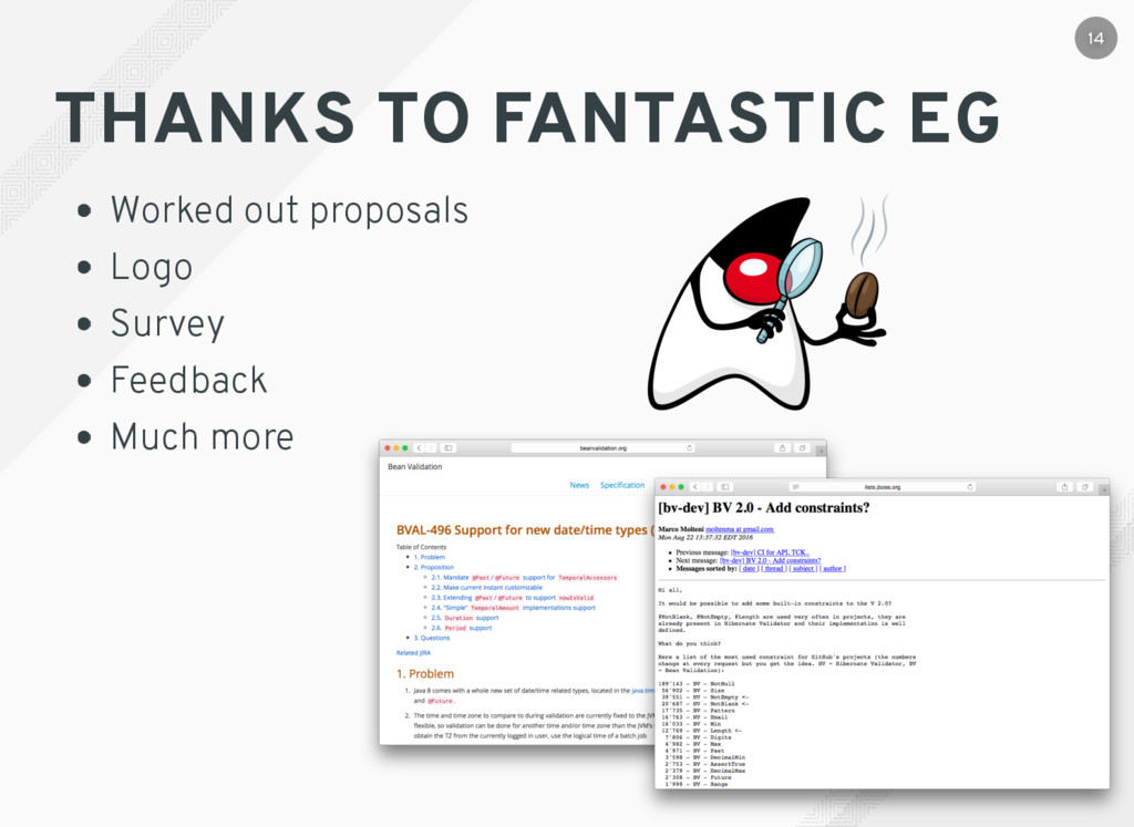 THANKS TO FANTASTIC EG Worked out proposals Log...