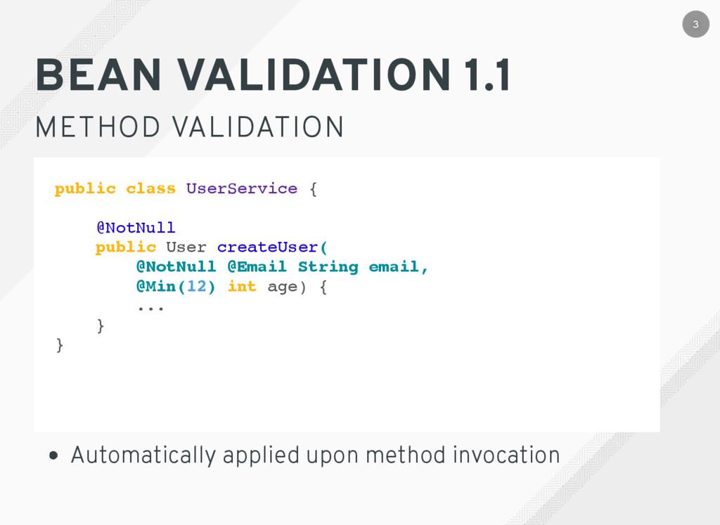 BEAN VALIDATION 1.1 METHOD VALIDATION Automatic...