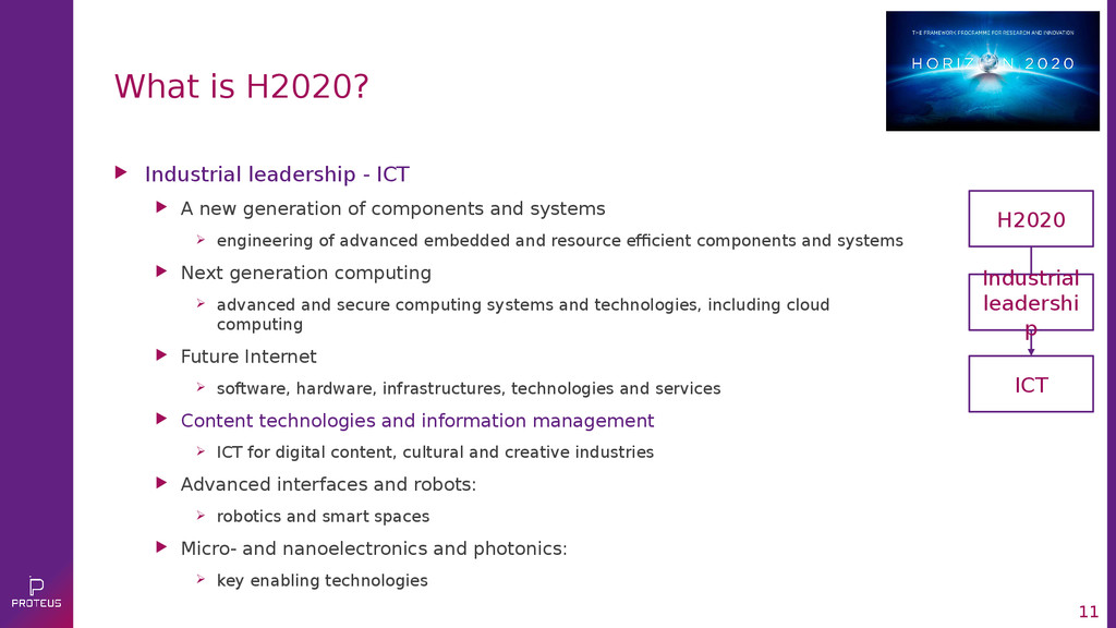 11 What is H2020?  Industrial leadership - ICT...