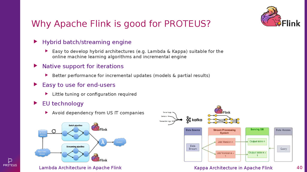 40 Why Apache Flink is good for PROTEUS?  Hybr...