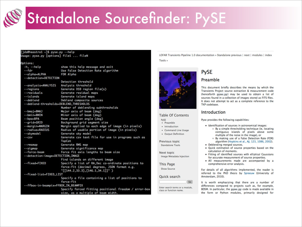 Standalone Sourcefinder: PySE