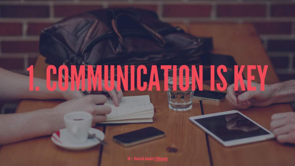 1. COMMUNICATION IS KEY 36 — Dominik Kundel | @...