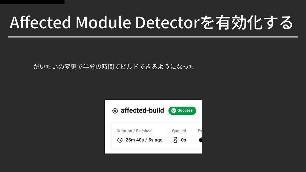 Affected Module Detectorを有効化する だいたいの変更で半分の時間でビルド...