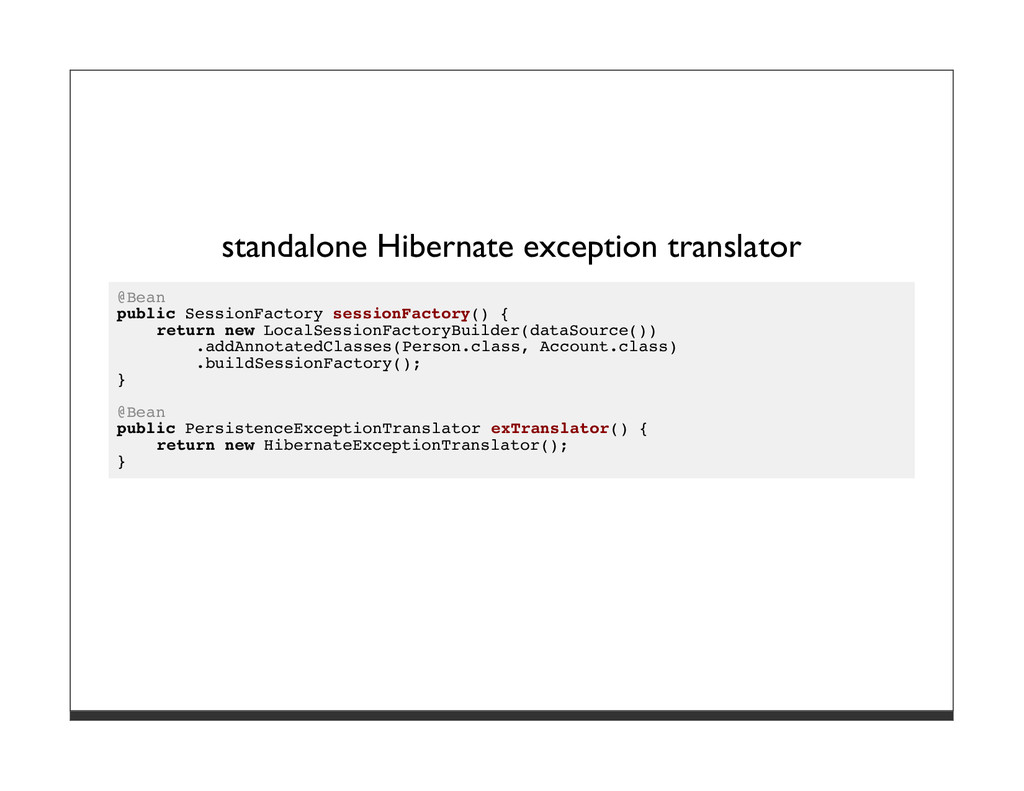 standalone Hibernate exception translator @Bean...