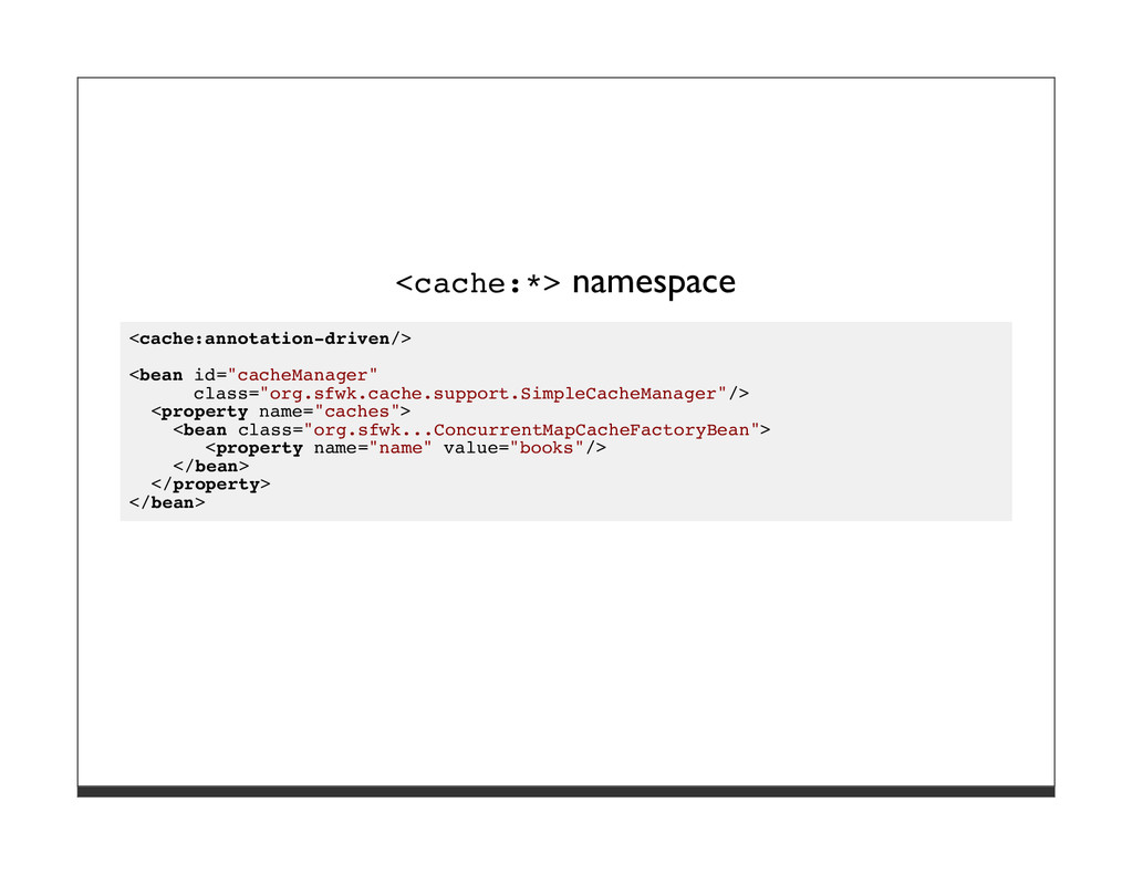 <cache:*> namespace <cache:annotation-driven/> ...