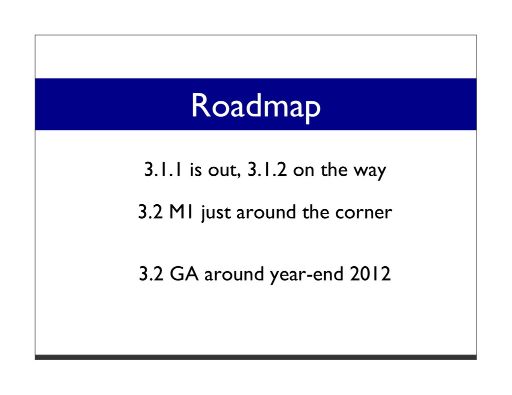 Roadmap 3.1.1 is out, 3.1.2 on the way 3.2 M1 j...