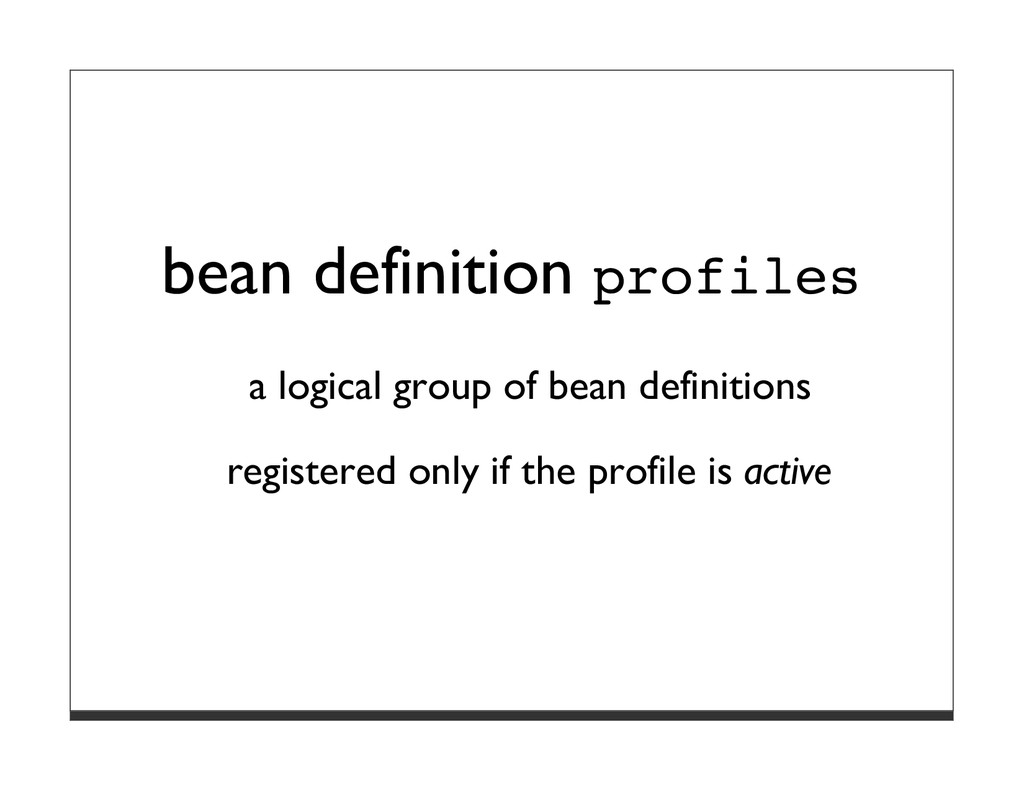 bean definition profiles a logical group of bea...