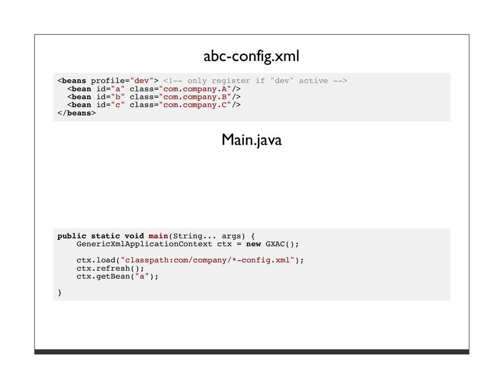"abc-config.xml <beans profile=""dev""> <!-- only ..."