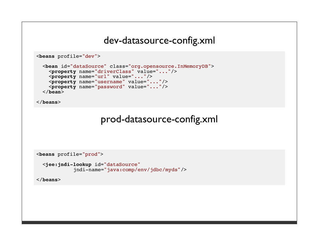"dev-datasource-config.xml <beans profile=""dev"">..."