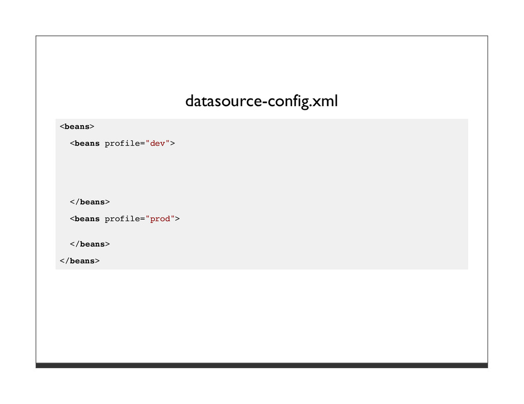 "datasource-config.xml <beans> <beans profile=""d..."